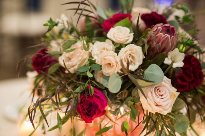 Dark Red and White Wedding Flowers: Rustic Glam Wedding at Seven Springs from Simply Kacie Photography featured on Burgh Brides