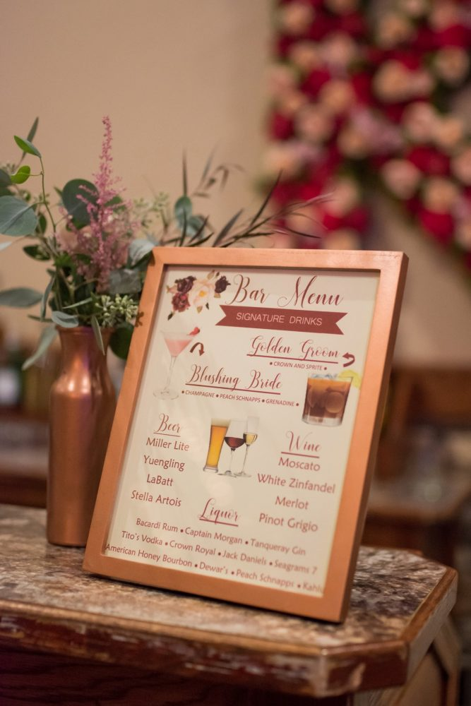 Wedding Bar Menu Sign: Rustic Glam Wedding at Seven Springs from Simply Kacie Photography featured on Burgh Brides