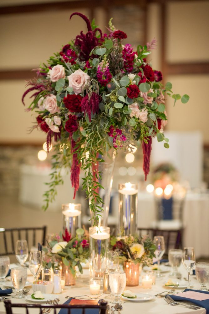 Tall Floral Wedding Centerpieces: Rustic Glam Wedding at Seven Springs from Simply Kacie Photography featured on Burgh Brides