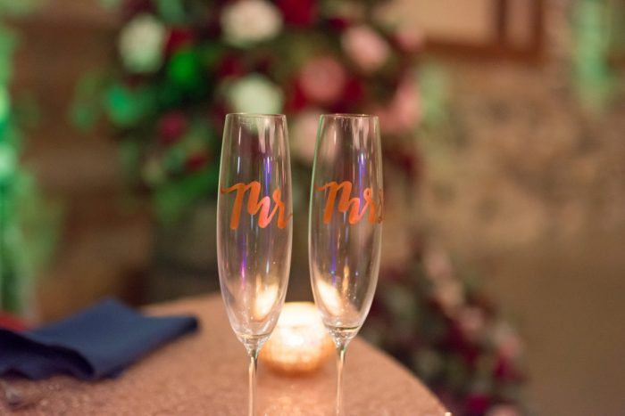 Rose Gold Mr and Mrs Wedding Champagne Toasting Flutes: Rustic Glam Wedding at Seven Springs from Simply Kacie Photography featured on Burgh Brides