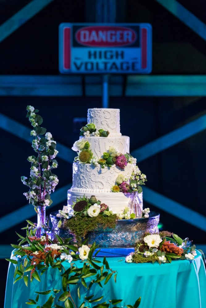 Four Tier Buttercream Wedding Cake: Fun Science Inspired Wedding Styled Shoot at the Carnegie Science Center from Weddings by Alisa featured on Burgh Brides