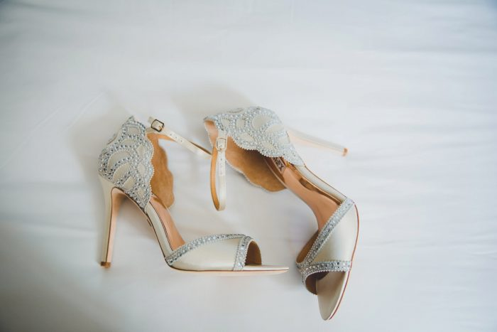 Peep Toe Rhinestone Heels for Bride on Wedding Day: Simple & Intimate Wedding from BNK Photo featured on Burgh Brides