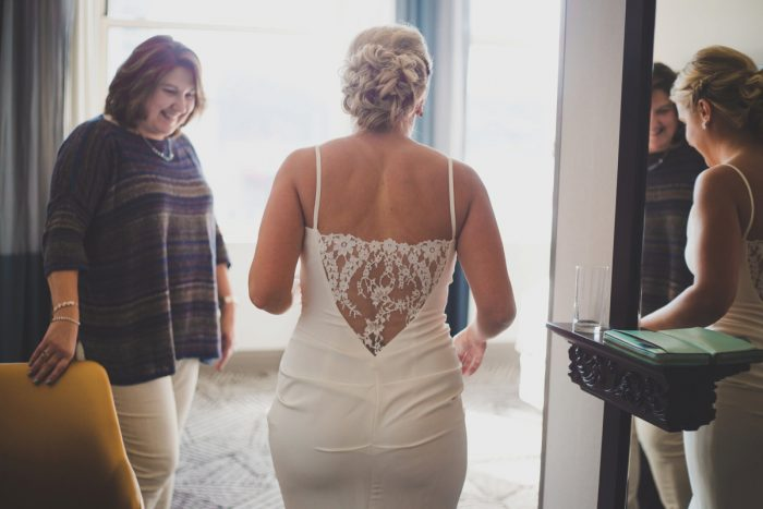 Lace Back Spaghetti Strap Wedding Dress: Simple & Intimate Wedding from BNK Photo featured on Burgh Brides