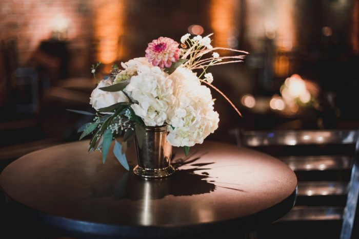 Wedding Cocktail Reception Centerpieces: Simple & Intimate Wedding from BNK Photo featured on Burgh Brides