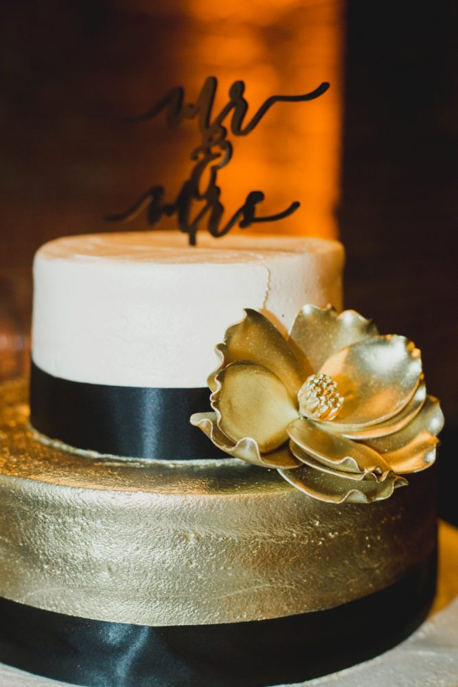 Black and Gold Wedding Cake: Simple & Intimate Wedding from BNK Photo featured on Burgh Brides