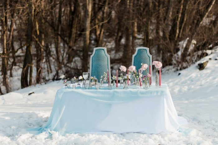 Vintage Wedding Sweetheart Table Chairs: Snowy Pastel Wedding Inspired Styled Shoot from Dawn Derbyshire Photography and Jessica Garda Events featured on Burgh Brides