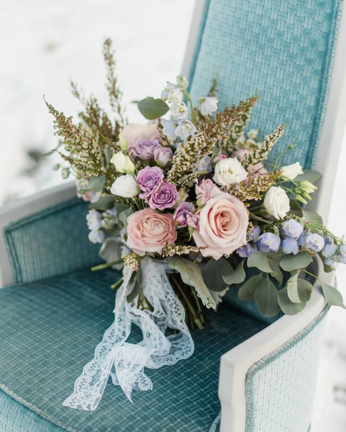 Textural Bridal Bouquet for Wedding Day: Snowy Pastel Wedding Inspired Styled Shoot from Dawn Derbyshire Photography and Jessica Garda Events featured on Burgh Brides