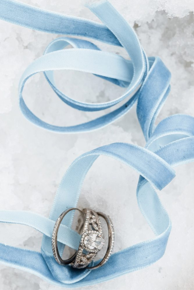 Something Blue Idea: Snowy Pastel Wedding Inspired Styled Shoot from Dawn Derbyshire Photography and Jessica Garda Events featured on Burgh Brides