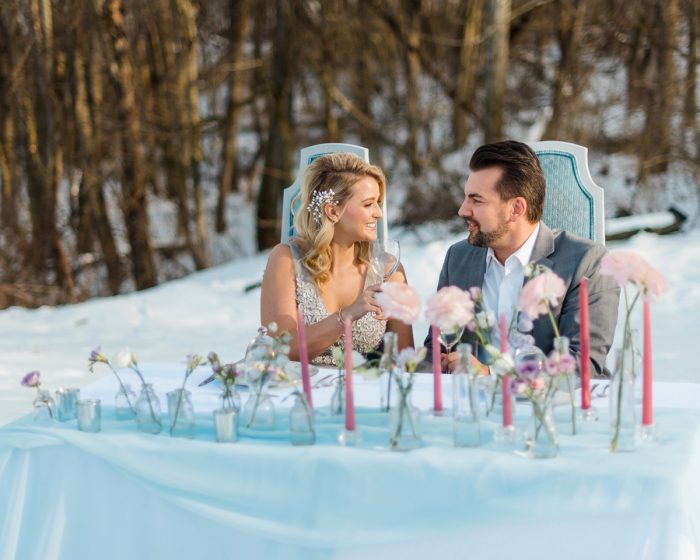 Vintage Wedding Sweetheart Table Ideas: Snowy Pastel Wedding Inspired Styled Shoot from Dawn Derbyshire Photography and Jessica Garda Events featured on Burgh Brides