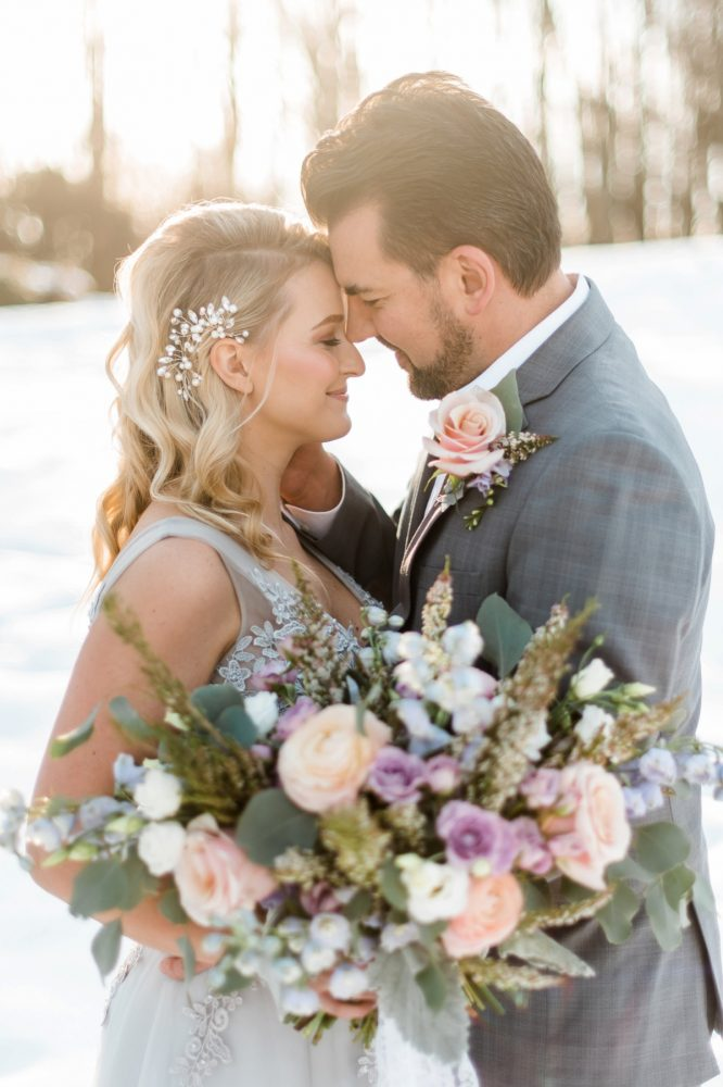 Pink, Purple, and Blue Bridal Bouquet for Wedding Day: Snowy Pastel Wedding Inspired Styled Shoot from Dawn Derbyshire Photography and Jessica Garda Events featured on Burgh Brides