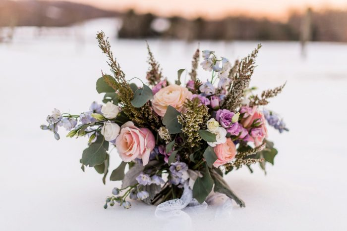 Textural Floral Arrangements for Wedding: Snowy Pastel Wedding Inspired Styled Shoot from Dawn Derbyshire Photography and Jessica Garda Events featured on Burgh Brides