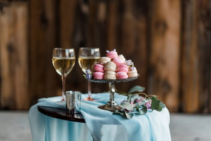 Macaron Desserts at Wedding: Snowy Pastel Wedding Inspired Styled Shoot from Dawn Derbyshire Photography and Jessica Garda Events featured on Burgh Brides