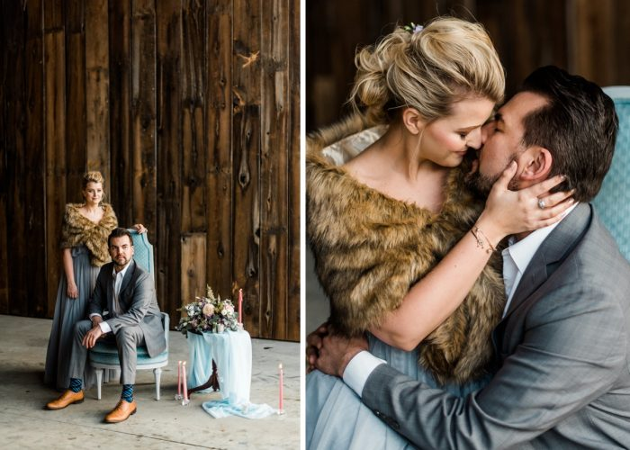 Cozy Winter Wedding Portraits: Snowy Pastel Wedding Inspired Styled Shoot from Dawn Derbyshire Photography and Jessica Garda Events featured on Burgh Brides