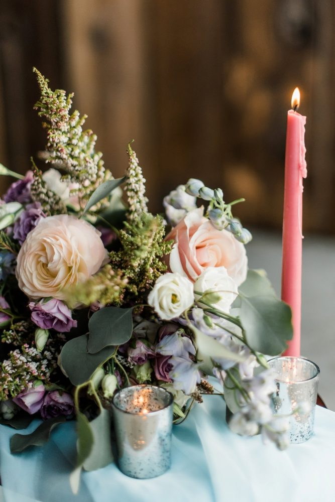 Cocktail Table Centerpiece Ideas: Snowy Pastel Wedding Inspired Styled Shoot from Dawn Derbyshire Photography and Jessica Garda Events featured on Burgh Brides