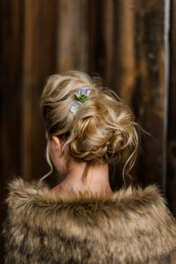 Loose Wedding Updo Hair Style on Bride: Snowy Pastel Wedding Inspired Styled Shoot from Dawn Derbyshire Photography and Jessica Garda Events featured on Burgh Brides