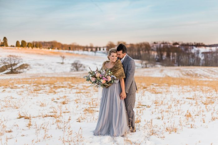 Farm Sunset Wedding Day Portraits: Snowy Pastel Wedding Inspired Styled Shoot from Dawn Derbyshire Photography and Jessica Garda Events featured on Burgh Brides