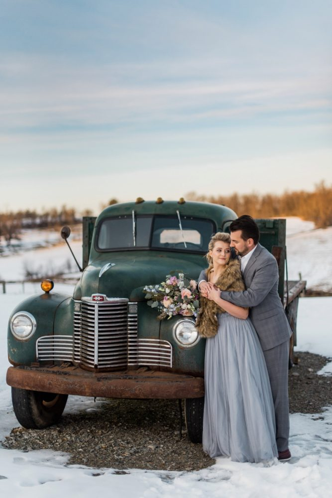 Vintage Farm Wedding Day Portraits: Snowy Pastel Wedding Inspired Styled Shoot from Dawn Derbyshire Photography and Jessica Garda Events featured on Burgh Brides