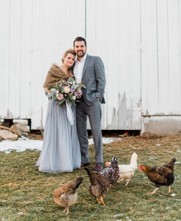 Rustic Farm Wedding Day Portraits: Snowy Pastel Wedding Inspired Styled Shoot from Dawn Derbyshire Photography and Jessica Garda Events featured on Burgh Brides
