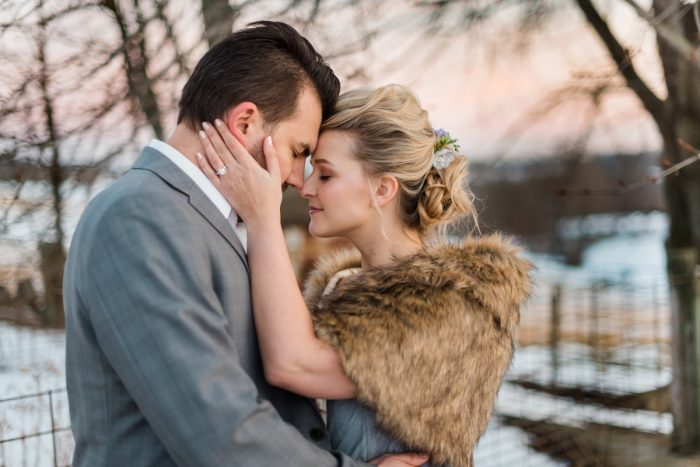Bride in Faux Fur Wrap for Winter Wedding: Snowy Pastel Wedding Inspired Styled Shoot from Dawn Derbyshire Photography and Jessica Garda Events featured on Burgh Brides