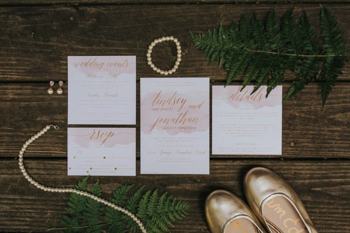 Pink Watercolor Wedding Invitations: Soft & Romantic Outdoor Wedding from Oakwood Photo + Video featured on Burgh Brides
