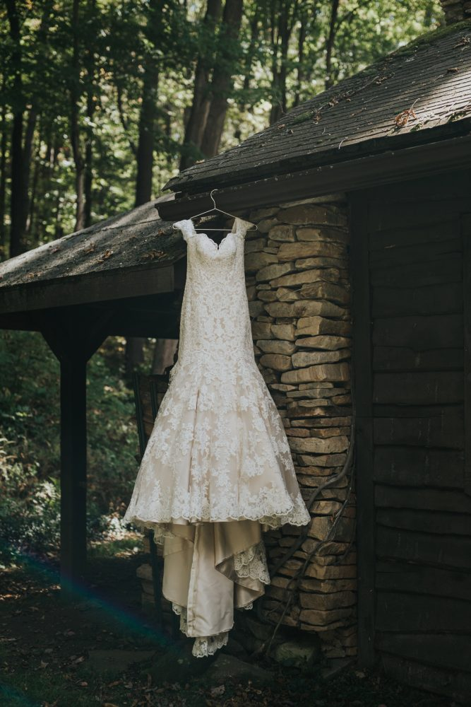 Ivory Lace Wedding Dress: Soft & Romantic Outdoor Wedding from Oakwood Photo + Video featured on Burgh Brides