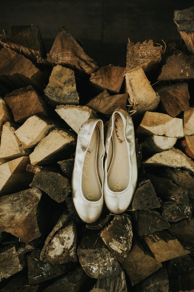 Gold Ballet Flats Wedding Shoes for Bride: Soft & Romantic Outdoor Wedding from Oakwood Photo + Video featured on Burgh Brides
