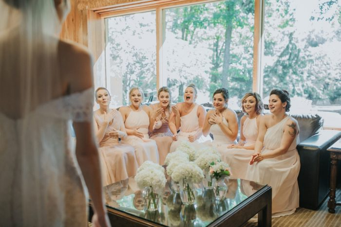 Bridesmaids First Look: Soft & Romantic Outdoor Wedding from Oakwood Photo + Video featured on Burgh Brides