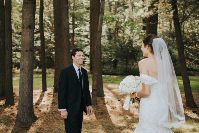 Bride and Groom Wedding Day First Look: Soft & Romantic Outdoor Wedding from Oakwood Photo + Video featured on Burgh Brides