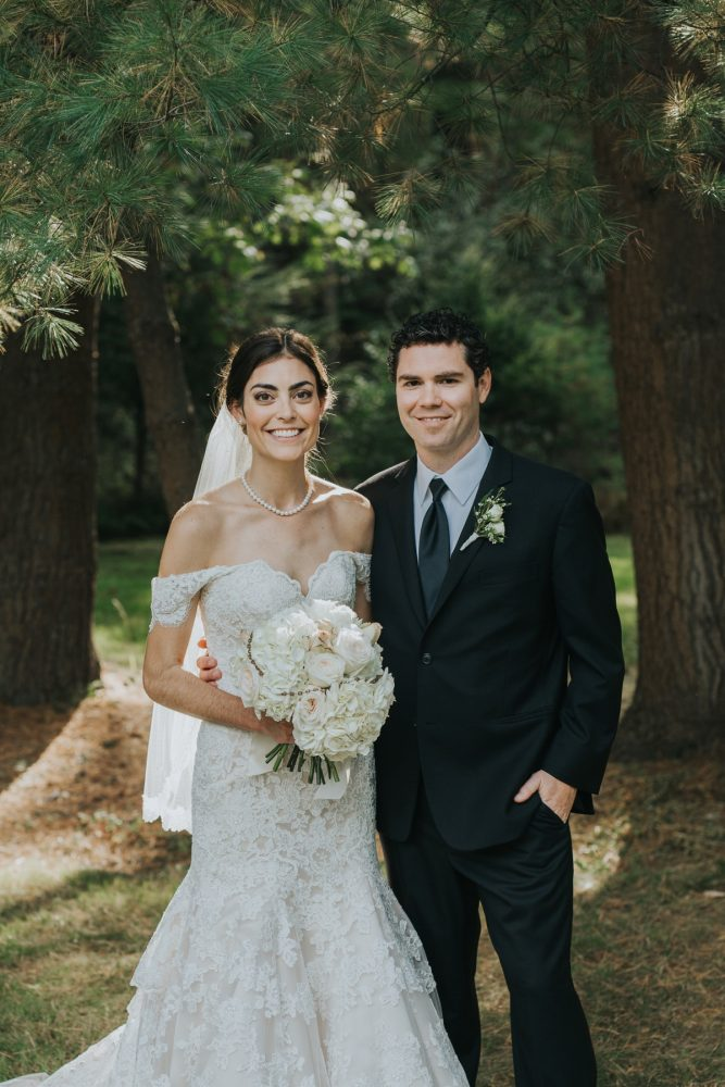 Off the Shoulder Lace Wedding Dress: Soft & Romantic Outdoor Wedding from Oakwood Photo + Video featured on Burgh Brides