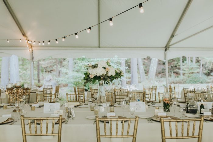 Bistro Lights in Tented Wedding Reception: Soft & Romantic Outdoor Wedding from Oakwood Photo + Video featured on Burgh Brides