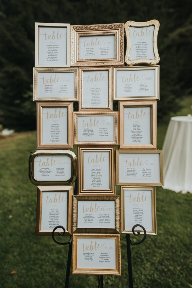 Gold Frame Wedding Seating Chart Display: Soft & Romantic Outdoor Wedding from Oakwood Photo + Video featured on Burgh Brides