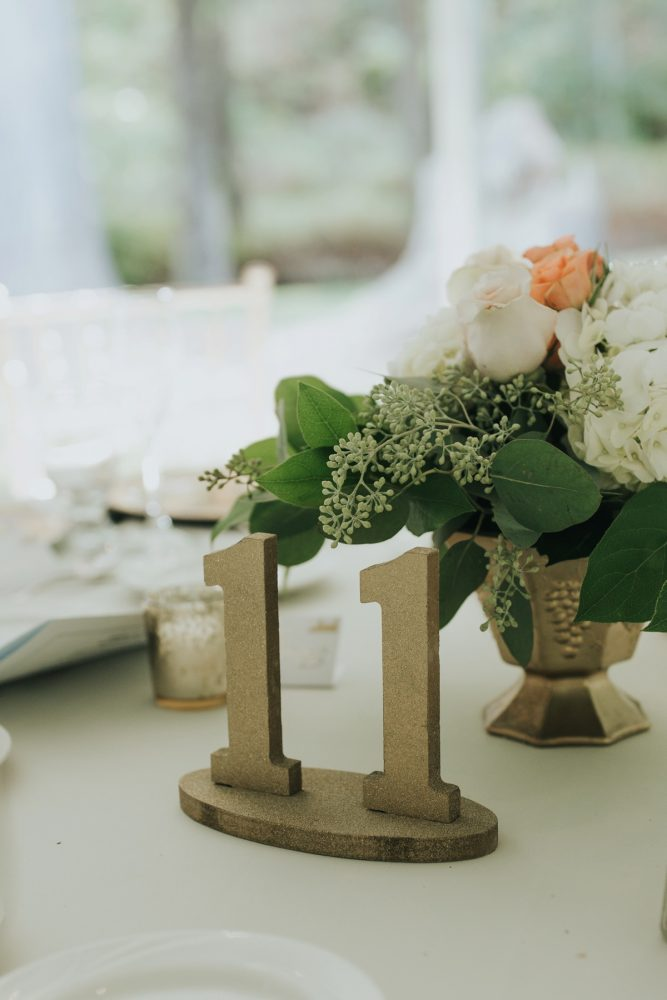 Gold Wedding Table Numbers: Soft & Romantic Outdoor Wedding from Oakwood Photo + Video featured on Burgh Brides