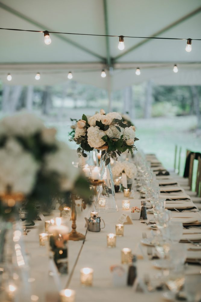 Elevated Floral Centerpieces at Wedding: Soft & Romantic Outdoor Wedding from Oakwood Photo + Video featured on Burgh Brides