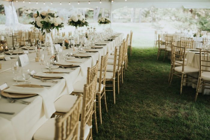 Tented Wedding Reception Decor: Soft & Romantic Outdoor Wedding from Oakwood Photo + Video featured on Burgh Brides