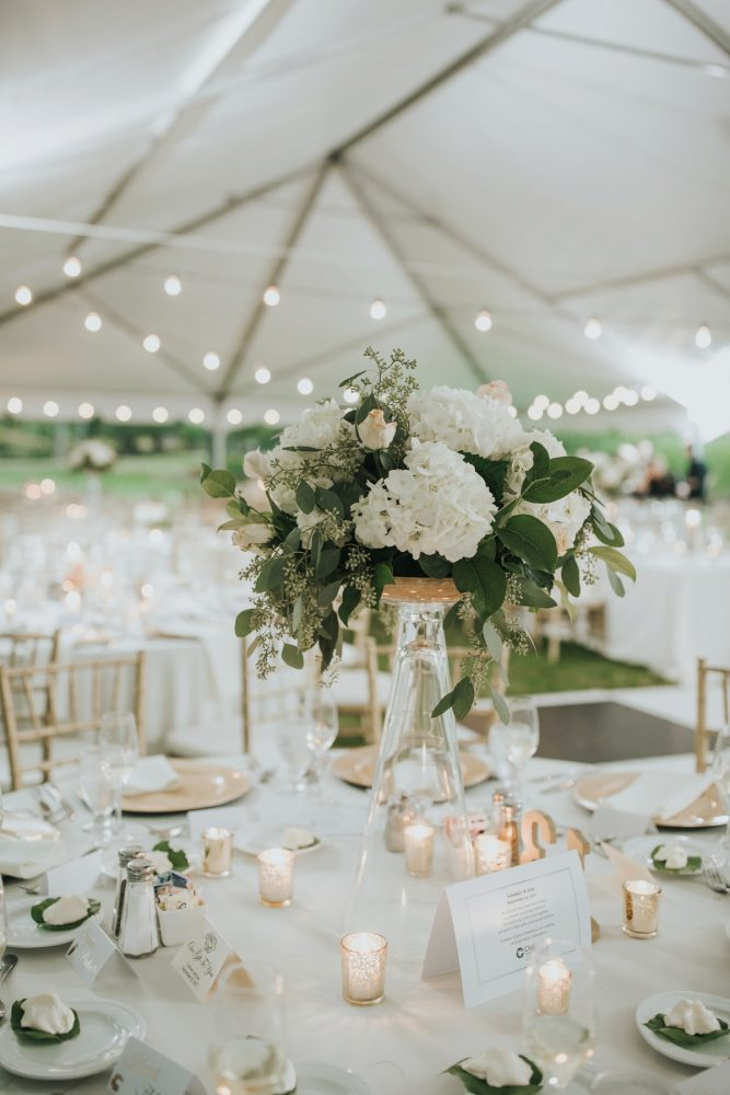 White & Peach Wedding Centerpieces: Soft & Romantic Outdoor Wedding from Oakwood Photo + Video featured on Burgh Brides