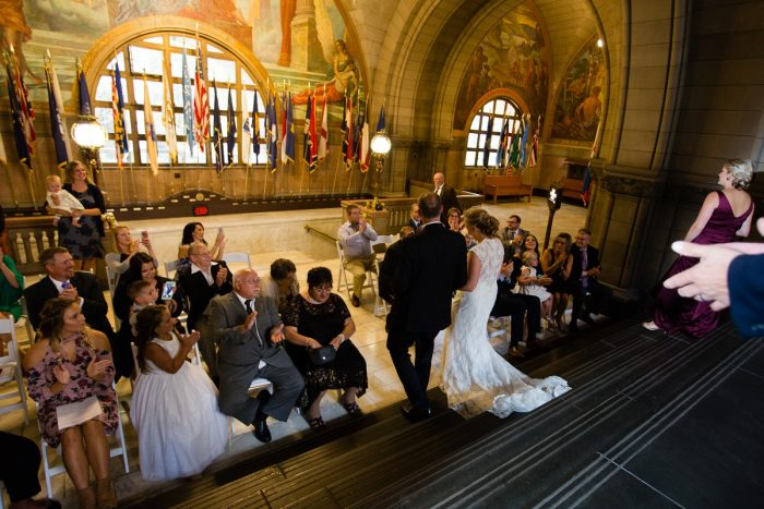Allegheny County Courthouse Wedding Ceremony: Travel Themed Wedding from Christina Montemurro Photography featured on Burgh Brides