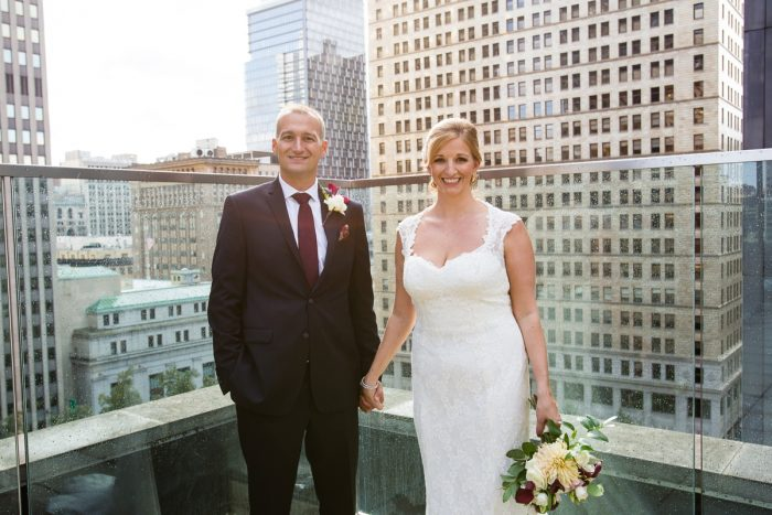 Downtown Pittsburgh Rooftop Wedding Day Bridal Portraits: Travel Themed Wedding from Christina Montemurro Photography featured on Burgh Brides