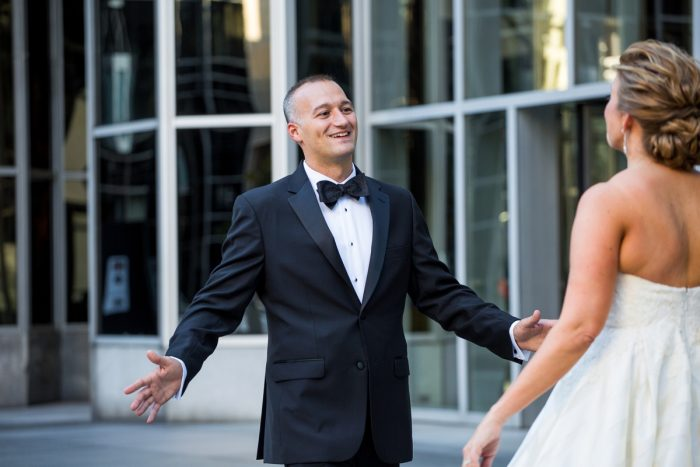 Downtown Pittsburgh First Look Wedding Day: Travel Themed Wedding from Christina Montemurro Photography featured on Burgh Brides