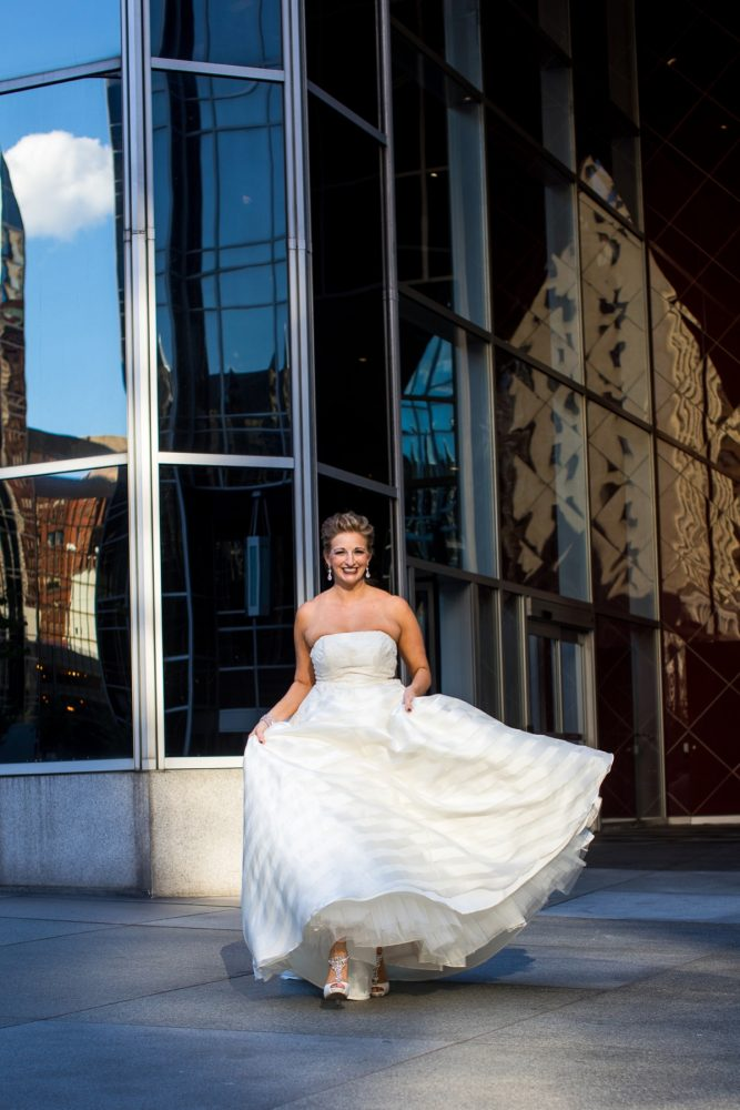 Striped Wedding Dress Bridal Portraits: Travel Themed Wedding from Christina Montemurro Photography featured on Burgh Brides