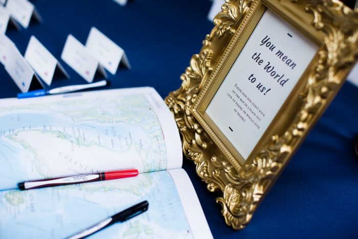 Unique Wedding Guest Book Ideas: Travel Themed Wedding from Christina Montemurro Photography featured on Burgh Brides
