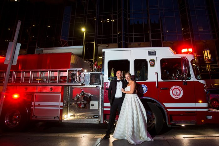 Firetruck Bride and Groom Wedding Day Portraits: Travel Themed Wedding from Christina Montemurro Photography featured on Burgh Brides