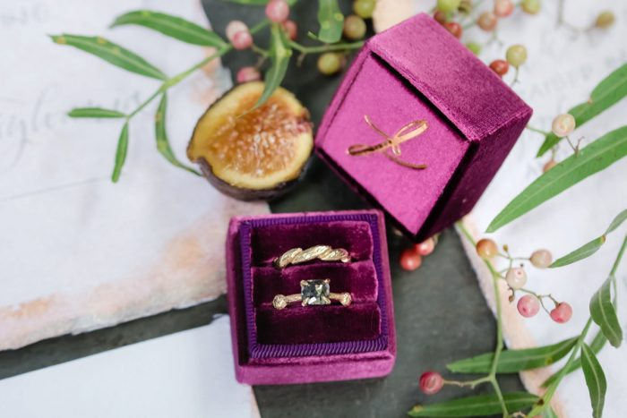 Berry Velvet Ring Box: Tuscan Inspired Wedding Styled Shoot from A&L Events and Wanderlust Images featured on Burgh Brides
