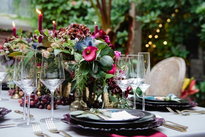Moody Wedding Tablescape Design: Tuscan Inspired Wedding Styled Shoot from A&L Events and Wanderlust Images featured on Burgh Brides