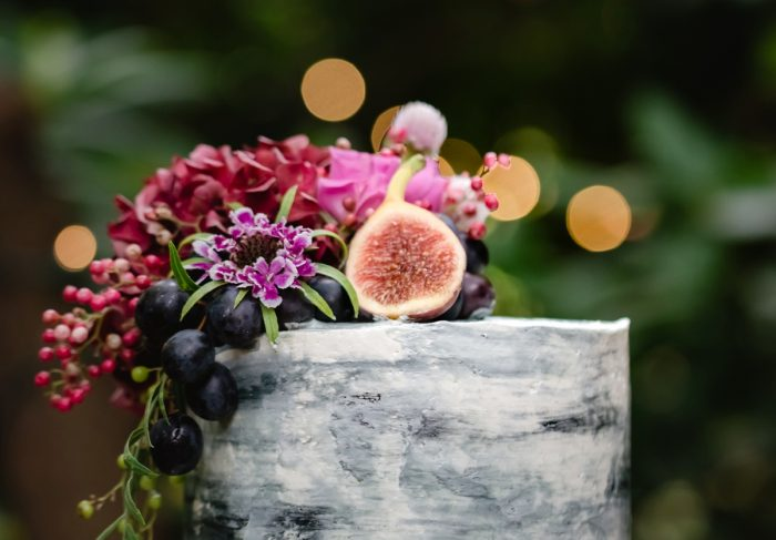 Fresh Fruit Atop A Naked Wedding Cake: Tuscan Inspired Wedding Styled Shoot from A&L Events and Wanderlust Images featured on Burgh Brides