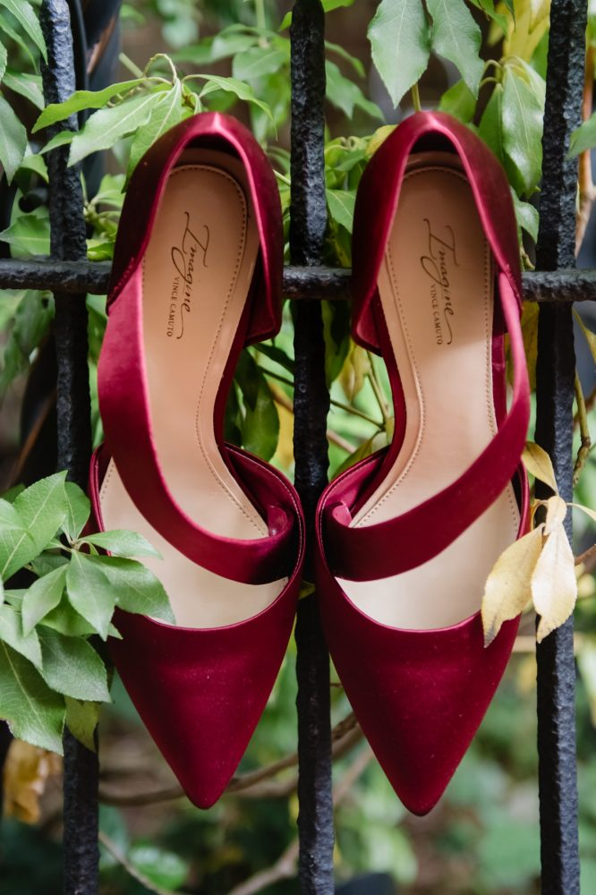 Red Velvet Wedding Shoes for Bride: Tuscan Inspired Wedding Styled Shoot from A&L Events and Wanderlust Images featured on Burgh Brides