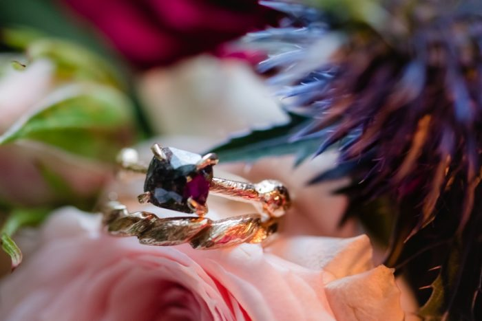 Ruby Gold Wedding Engagement Ring: Tuscan Inspired Wedding Styled Shoot from A&L Events and Wanderlust Images featured on Burgh Brides