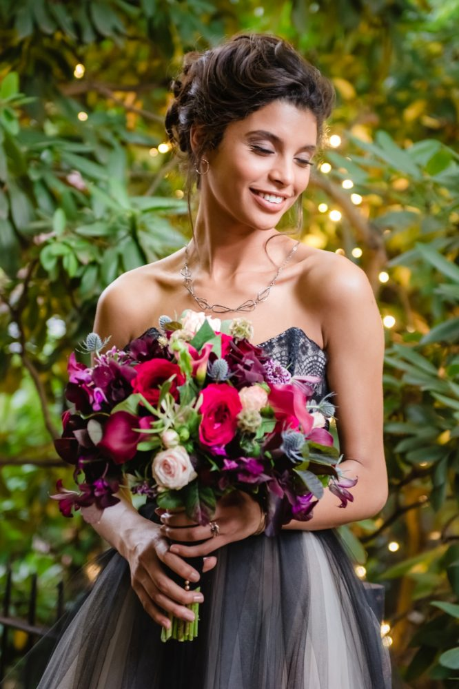 Purple and Red Wedding Flowers Bridal Bouquet: Tuscan Inspired Wedding Styled Shoot from A&L Events and Wanderlust Images featured on Burgh Brides