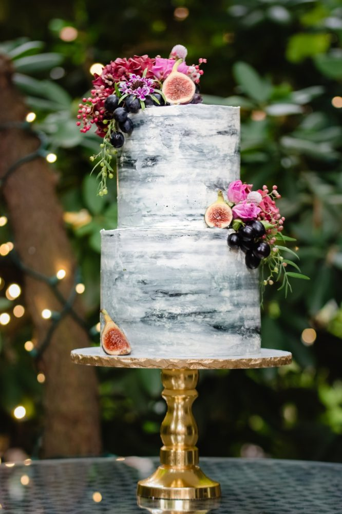 Naked Wedding Cake With Fresh Fruit Cake Topper: Tuscan Inspired Wedding Styled Shoot from A&L Events and Wanderlust Images featured on Burgh Brides