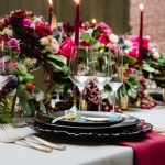 Moody Wedding Reception Tablescape with Red Taper Candles: Tuscan Inspired Wedding Styled Shoot from A&L Events and Wanderlust Images featured on Burgh Brides