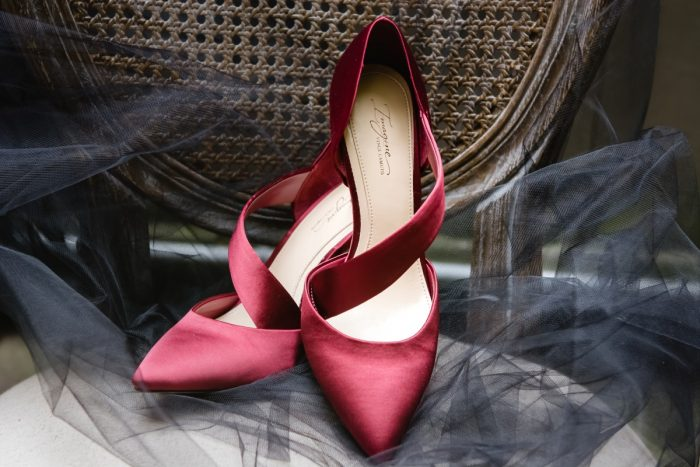 Red Satin Wedding Shoes for Bride: Tuscan Inspired Wedding Styled Shoot from A&L Events and Wanderlust Images featured on Burgh Brides